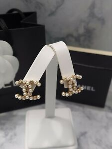 CHANEL 20A Gold CC Logo Pearl Crystal Stud Earrings