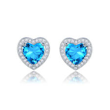 Vogue Women White Gold Filled Aquamarine Sapphire Stud Earrings Valentine's Gift