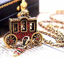 Women Chic Vintage Carriage Bronze Rhinestone Long Chain Pendant Necklace Charms
