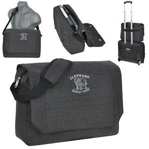 ELEPHANT Umhängetasche Tasche Laptop BAG Messenger Herren Damen Canvas SCHWARZ