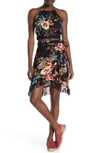 Free People Women's Floral Halter Top & Wrap Skirt, Large, Blue