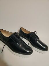 Zara Basic Editions Shoes NWT Navy White soles lace up size US 8 Platform Derby