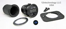 Industrial Large Body Waterproof Round 12V Blue Voltmeter W/ Boot Battery Bank