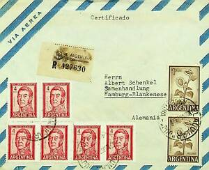 ARGENTINA SAN MARTIN FLOWERS 8v ON AIRMAIL COVER TO GERMANY