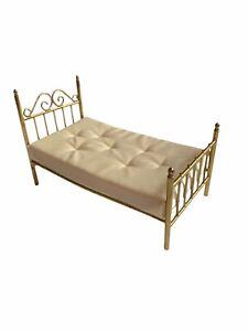 Vtg Dollhouse Miniature Metal Brass Bed King Mini Gold