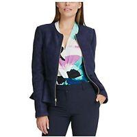 DKNY Womens Navy Zip Up Jacket (Navy, 10P)