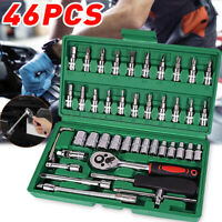 "46PCS Socket Ratchet Wrench Set Metric Sae Spanner Car Repair Tool Kit 1/4""Drive"