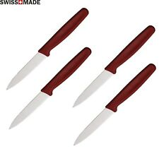 4 Victorinox Kitchen Paring Knife 3¼ Stainless Serrated Blade Red Nylon Handle