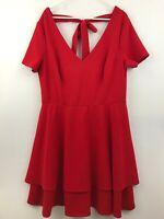 B Darlin Womens Plus Size 18 Red Holiday Short Sleeve Zip Dress