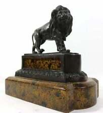 Maitland-Smith Bronze Lion Sculpture on Pedestal