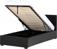 Waverley Individual 3ft Otomano Almacenaje Cama en Piel Sintética Bedroom Negro
