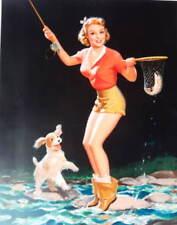 vintage art Fly Fishing  Lady w net dog by Walt Otto