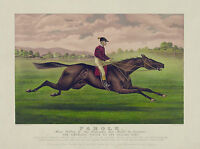 "1879 Horse Race, ART, 16""x11"" antique vintage sports decor, Jockey, Parole"