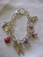 Charm Bracelet Apple Angel Moonstone Bead Faceted Crystal Silver 8""