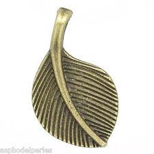 4 pendentifs breloques feuille couleur bronze antique 27 x 16 mm