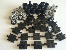 ☀�New Lego 100 Lot Car Parts Wheels Tires Axles Rims 100 Pieces Small Truck