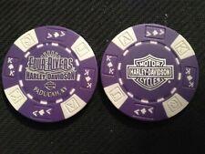 "Harley Poker Chip Golf Ball Marker (Dark Purple/White) ""Four Rivers"" Paducah Ky"