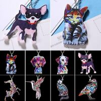Womens Colorful Printing Animal Cat Dog Pendant Necklace Sweater Chain Jewellery