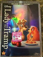 Disney's Lady and the Tramp (Blu-ray/DVD, 2012, 2-Disc Set, Diamond Ed) NEW!!