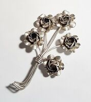 Vintage Signed Coro Sterling Silver Large Dimensional Flowers Brooch Pin
