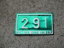 Philippines 1997 Sta. Cruz. Lag bike  license plate #  291