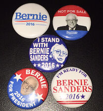 "5 Bernie Sanders 2016 For President 1"" Campaign Pin Button Pinback Badge Lot"