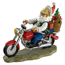 Biker Motorcycle Santa Claus Christmas Jolly Old St. Nick Statue