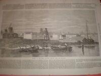 Works of the great railway bridge Dort (Dordrecht) Netherlands 1869 old print