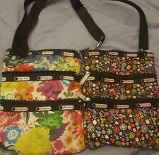 LeSportsac~Lot x 2 ~Cross body Bag Purse Hawaiian Floral 3 Zip~LOW GLOBAL SHIP
