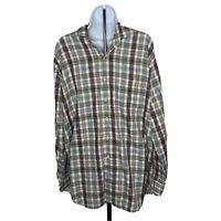 Mens Peter Millar Shirt XL Plaid Blue Green White Purple Long Sleeve Button Up