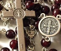 *St. Benedict GARNET GEMSTONE Beads gift 5 DECADE Rosary Catholic Necklace Cross