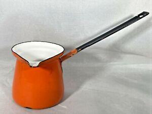 Vintage Orange Enamel Metal Turkish Coffee Pot Warmer Ladle Made in Yugoslavia 2