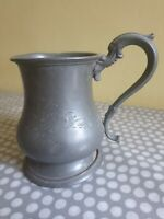 Vintage English Pewter Tankard With Engraved Decoration