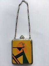 Vintage ART DECO Yellow Orange Chrome COMPACT Coin Purse on chain UNIQUE