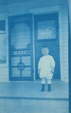 Cyano-Type,Milford,Nebraska,Little Boy on Porch,Used,Milford 1912