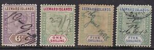 LEEWARD IS 1890 VALUES TO 5s x2 WITH PEN CANCELS (4)