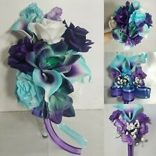 Turquoise Purple White Rose Calla Lily Orchid Wedding Bouquet & Boutonniere