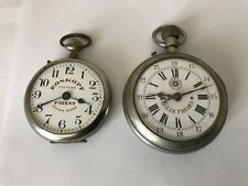 2 RARE ROSKOPF MILITARY SYSTEM PATENT & WILLIE FRERES SWISS POCKET WATCHES RUN