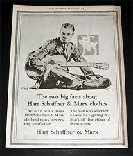 1921 OLD MAGAZINE PRINT AD, HART SCHAFFNER & MARX, TWO BIG FACTS, GUITAR ART!