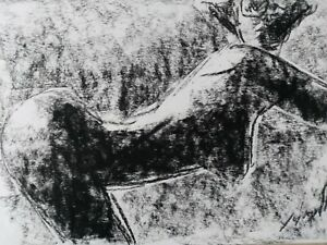 Nude Female Charcoal Pencil Drawing Bodyscape Original Signed Picture Art