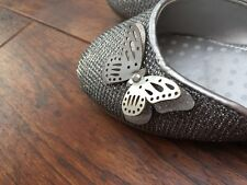 Girls Silver Butterfly Shoes Size 10