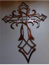 "ORNAMENTAL CROSS METAL WALL ART DECOR COPPER/BRONZE PLATED 30"" tall"