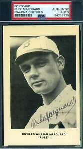 Rube Marquard PSA DNA Coa Autograph Hand Signed Photo Postcard