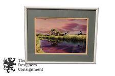 Signed Digital Artwork Blue Heron Flying Over Marsh Palmettos Landscape Photo