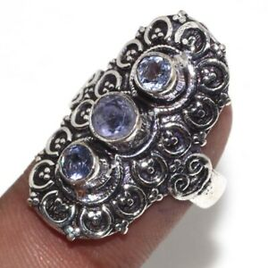 Amethyst Ethnic Handmade Gemstone Ring Jewelry US Size-7.5 JW