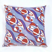 """Atomic Space Age Planets Mid Century 16x16"""" Zipper Throw Pillow Vtg 50s Fabric"""