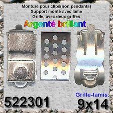 522301*** 2 paires CLIPS TAMIS 14x9 ARGENTES.Clip monté
