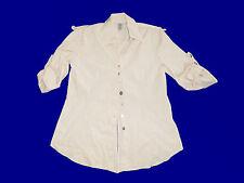 Long Beige Blouse Blouse Tunique avec Bouton de Costume Gr. XL 3/4 Bras