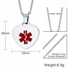 Medical Alert ID Necklace - Heart Pendant Charm, Allergy Epilepsy Diabetes Name