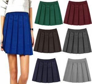 Girls Uniform Box Pleated Mini Skirt Kids Elasticated Waist School Wear Skirt